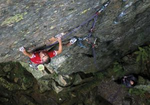 Climbing 2013:July_Steve McClure on Inferno (E7 6c), Bowderstone Crag, Lake District